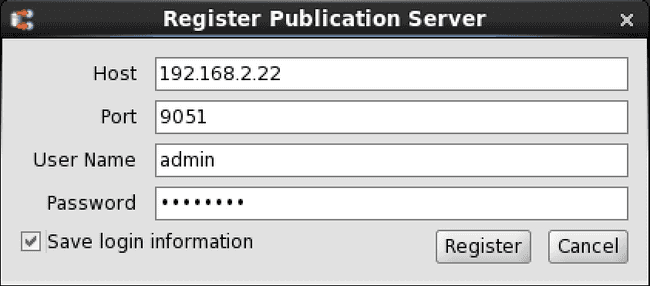 Save login information option for a publication server