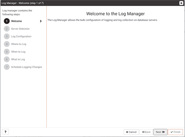 Log Manager Wizard - Welcome page