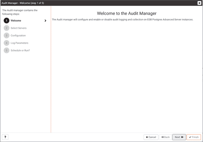 Audit Manager Wizard - Welcome page