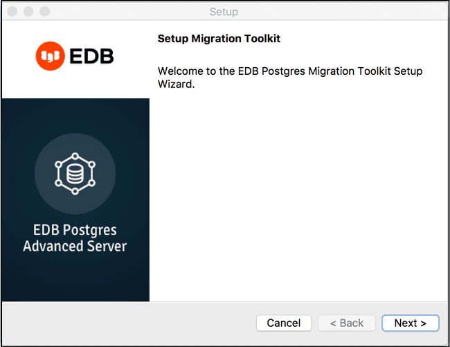 The Migration Toolkit installation wizard.