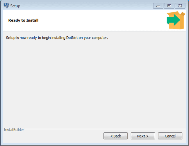 The Ready to Install dialog